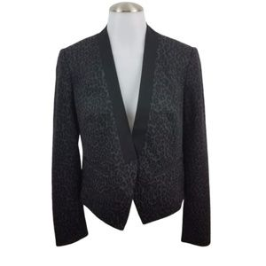 ann taylor loft blazer animal print cheetah gray
